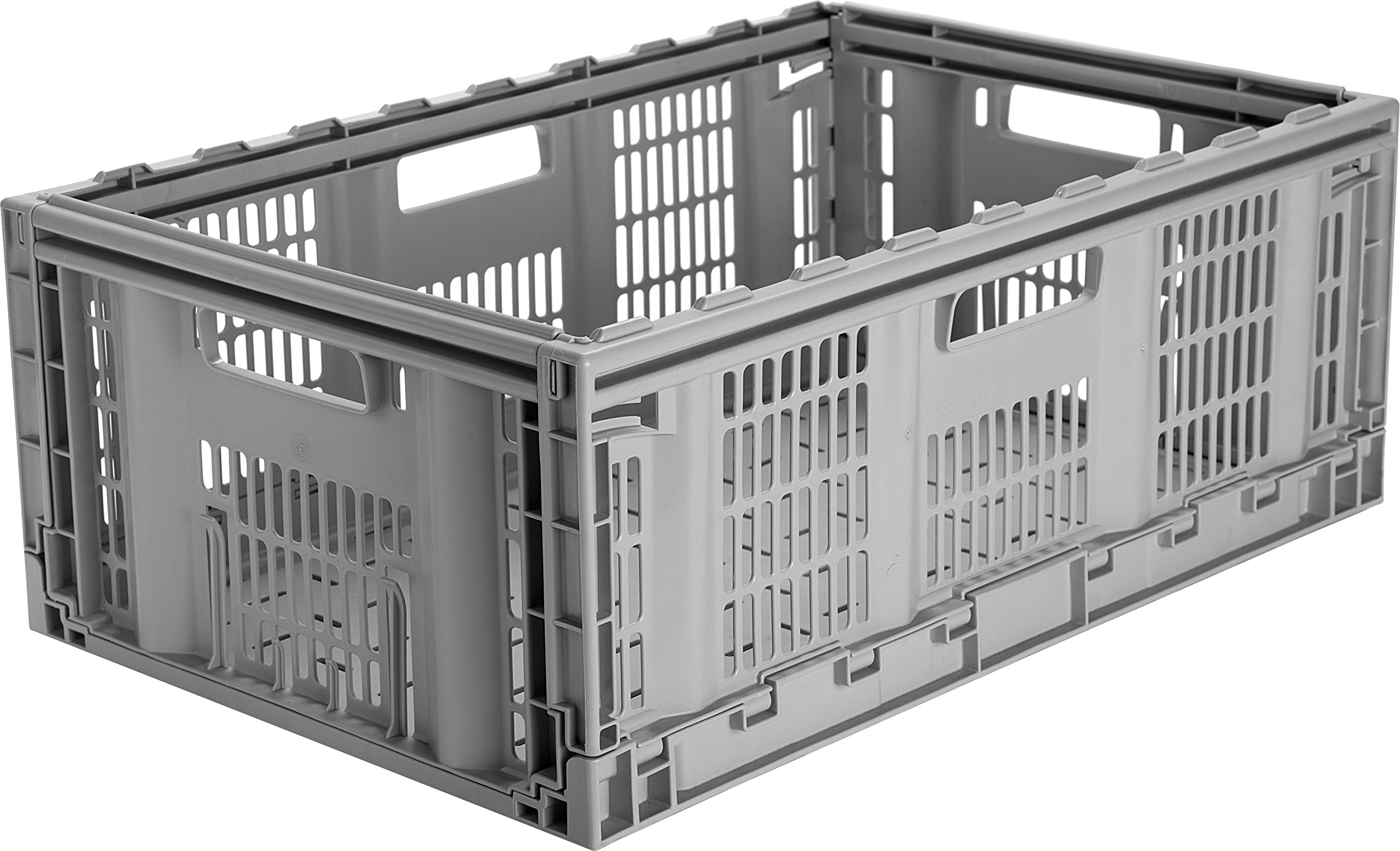 CleverMade CleverCrates Pro-Grade 46 Liter Collapsible Storage Bin/Container: Grated Wall Utility Basket/Tote, Grey