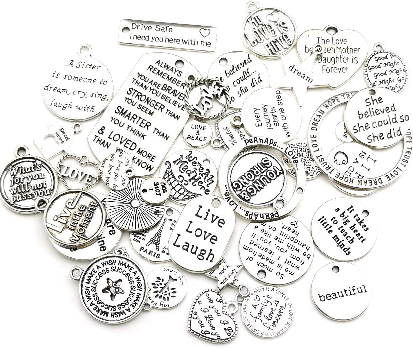 M373 WOCRAFT 80pcs Inspiration Words Charms Craft Supplies Beads Charms Pendants for Jewelry Making Crafting Findings Accessory for DIY Necklace Bracelet