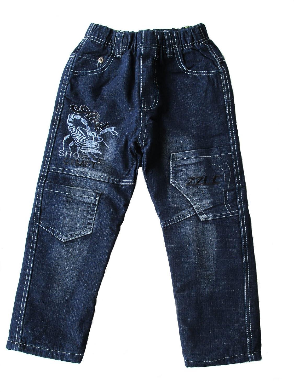 Kinder Jungen Thermo Jeans, Thermojeans, Thermohose, gefüttert, mit Motiv 'Skorpion', blau, AM-KI-JU-Jeans-RB012-bla