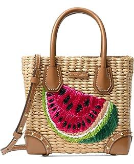 95620dcd883c MICHAEL Michael Kors Malibu Medium Straw Watermelon Leather Satchel Bag,  Natural Ultra Pink