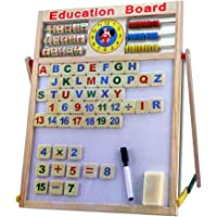 FunBlast® Educational Learning Board Multipurpose Double-Sided Magnetic Wooden Writing, Mathematical Calculations & English Alphabets,White and Black Board (Size: 43.5 x 36 cm (Small))