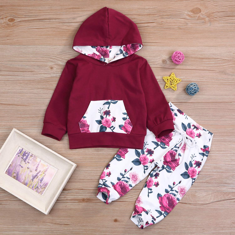 2PCs Infant Toddler Baby Girl Summer Sweatshirt Kangaroo Pocket Floral Hoodie Tops Pants Clothes Set