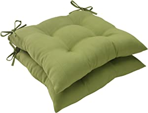 Pillow Perfect 506036 Outdoor/Indoor Forsyth Kiwi Tufted Seat Cushions (Square Back), 19