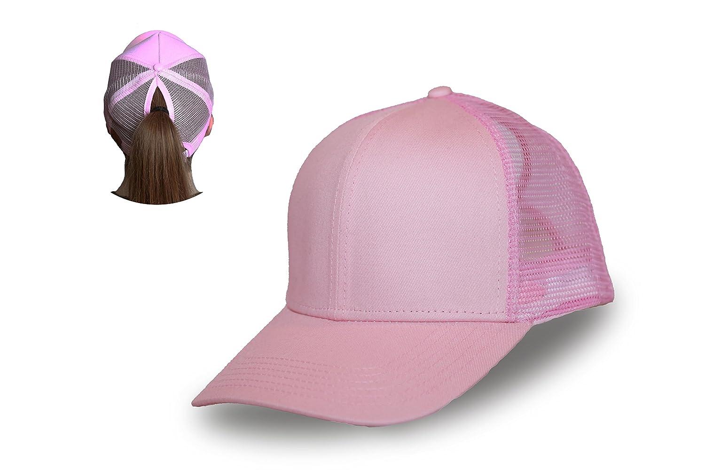 C.C. Ponytail Hat Messy Bun Hat Ponycap Ponytail hat for Women (Light Pink) 2fc0e52d85