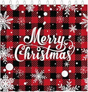 """Funnytree Marry Christmas Shower Curtain Set with Hooks Red Buffalo Check Plaid Snowflake Xmas Bathroom Bathtubs Decor Easy Care Waterproof Washable Durable Polyester Fabric 72""""x72"""""""