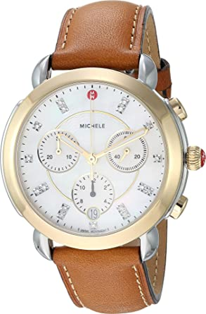 6b94cad71b9ae Michele Women s Sidney Two-Tone and Saddle Leather Diamond Dial Watch Saddle  Two-