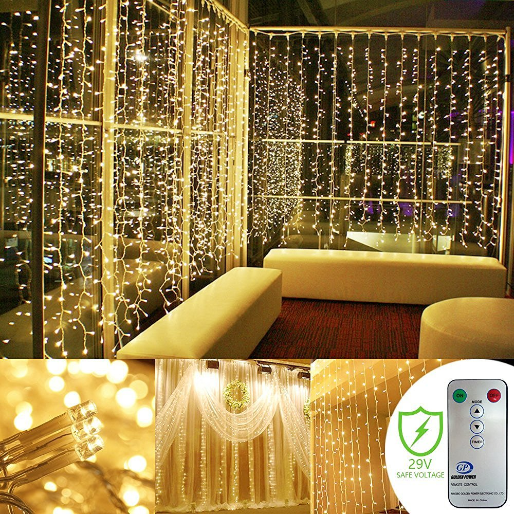 Kohree Curtain Lights, Wedding Light Remote Control Outdoor Indoor Icicle String Lights for Christmas, Home, Church, Balcony, Holiday, Party Decorations, Warm White, 300 LEDs 8 Mode, UL Certified