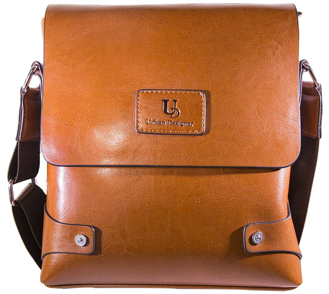 Mens Genuine Leather Bag Messenger Bag For Man Crossbody Bag (Khaki)