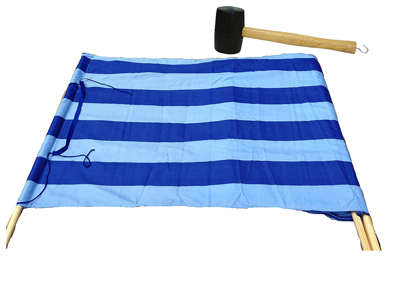 Idena Baumwoll Windschutz Incl Ohne Hammer, Blau//Wei/ß 5 Holzst/äbe 5 m x 0,80 m