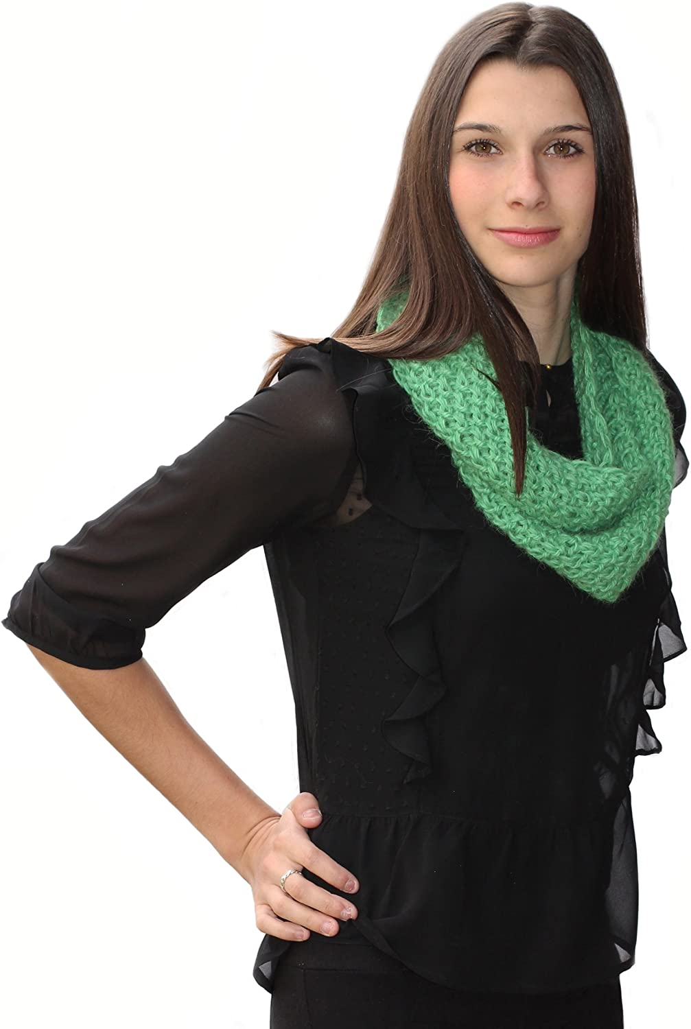 Alpaca Knitted Circular Scarf/Design Name: Morges (Apple Green)(Ships from France)