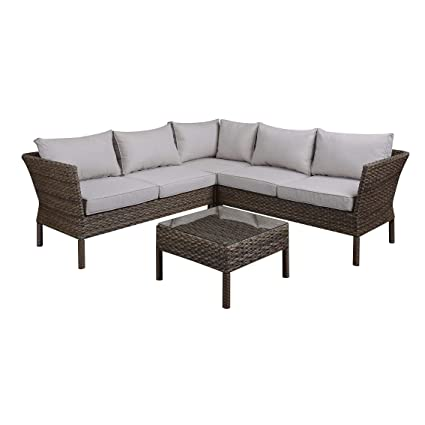 Amazon.com : DG Casa Solana Steel Rattan Sectional Sofa and ...