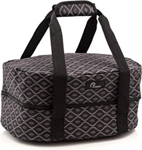 Slow Cooker Bag for Carrying Oval and Round-Shaped Crockpots, Multi Cookers, Rice & Pressure Cookers up to 6 Quarts to Transport Hot Food with Ease and in Style (Black Trellis)