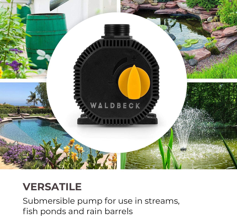 Waldbeck Nemesis T35 Pompe de bassin fiche de contact de protection pour usage en ext/érieur raccordements : 3//4 et 1 indice de protection IPX8 hauteur max.: 2m 35W d/ébit 2300 l//h c/âble 10m