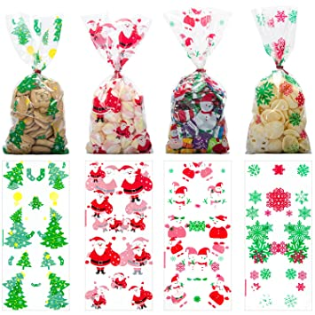 Christmas Cellophane Bags.Christmas Cellophane Bags With Twist Ties Holiday Favor