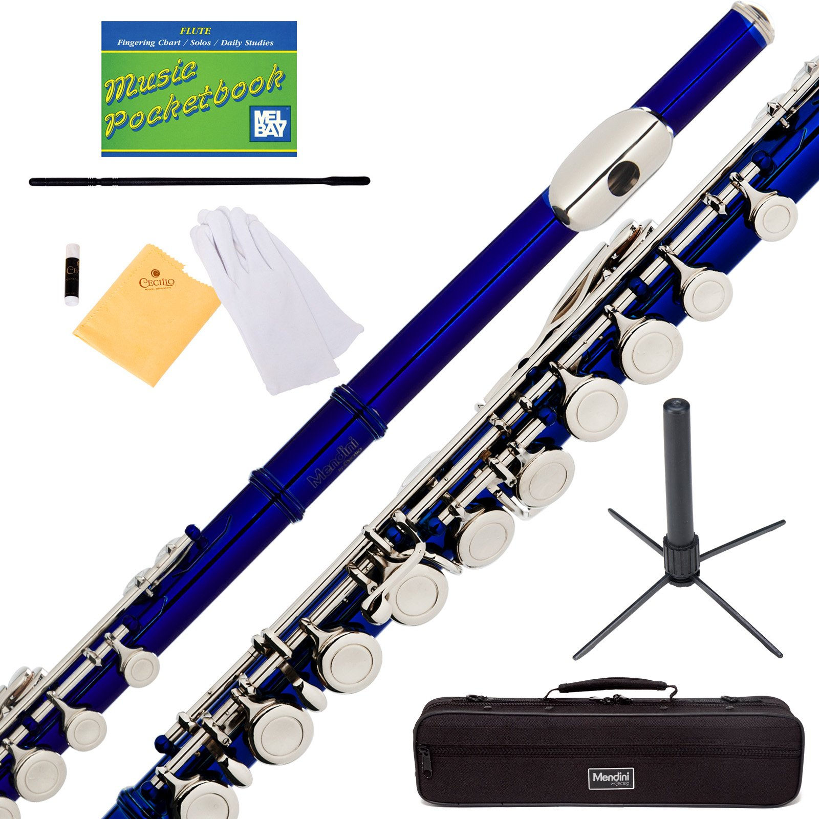 Mendini Closed Hole C Purple Flute with Stand, 1 Year Warranty, Case, Cleaning Rod, Cloth, Joint Grease, and Gloves - MFE-PL+SD+PB
