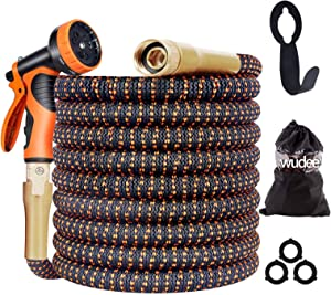 wudee Expandable Garden Hose 25/50/100ft, 10-Way Durable Spray Nozzle Flexible Water Hose with Holder, Strength 3750D, 4-Layers Latex, 3/4