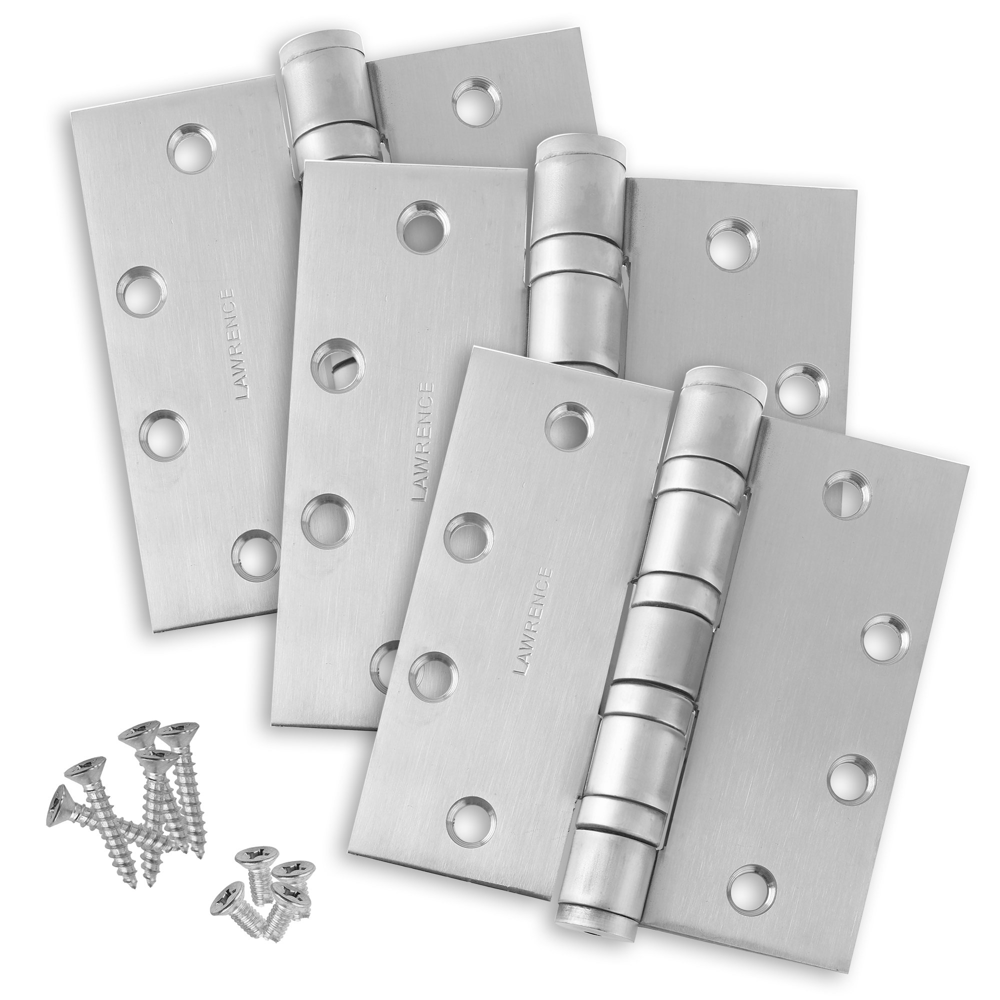 """Commercial Heavy Duty Door Hinges, Ball Bearing, Satin Brushed Chrome (US26D), 4.5"""" x 4.5"""", 3 Pack, by Lawrence Hardware"""