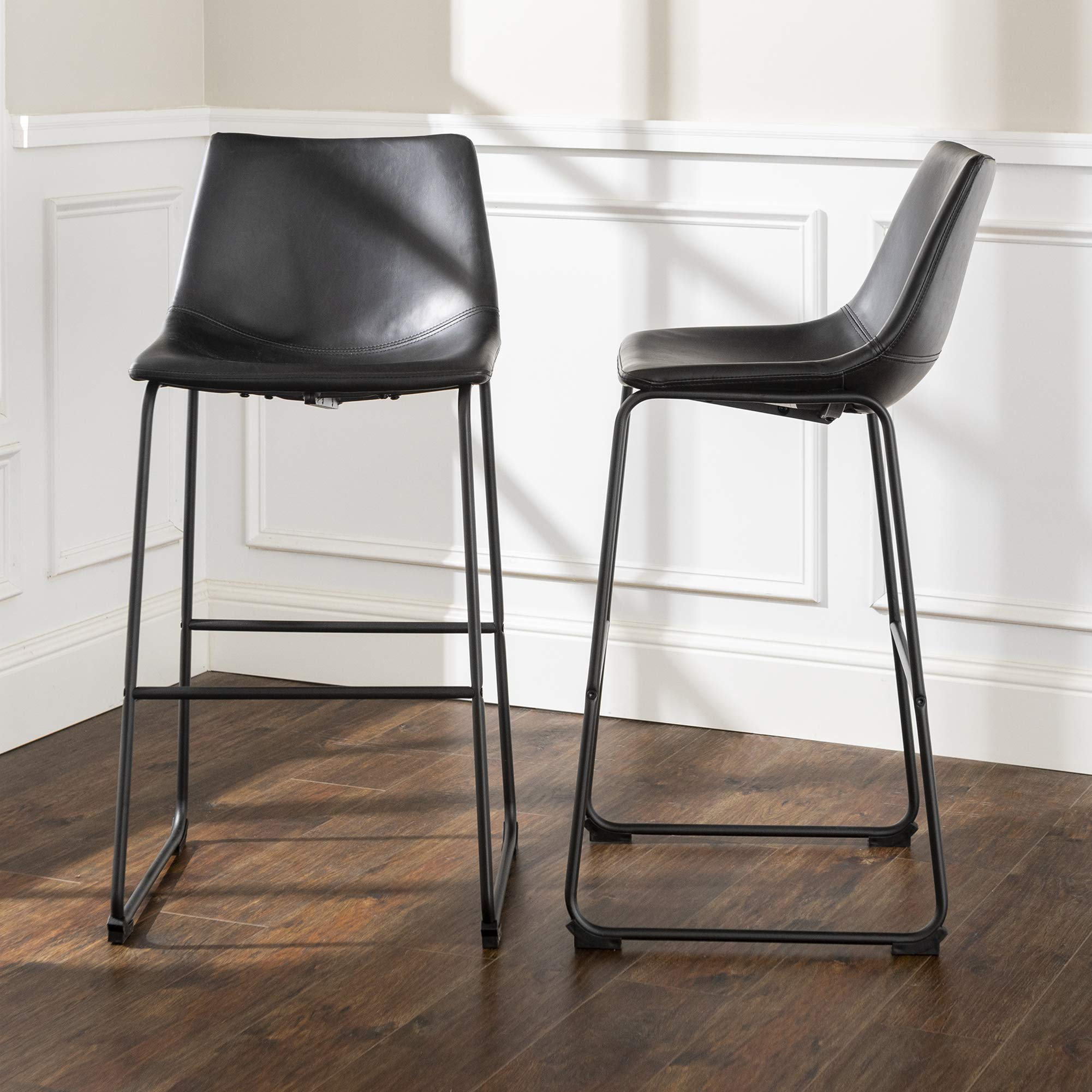 WE Furniture Black Faux Leather Barstool, Set of 2 by WE Furniture