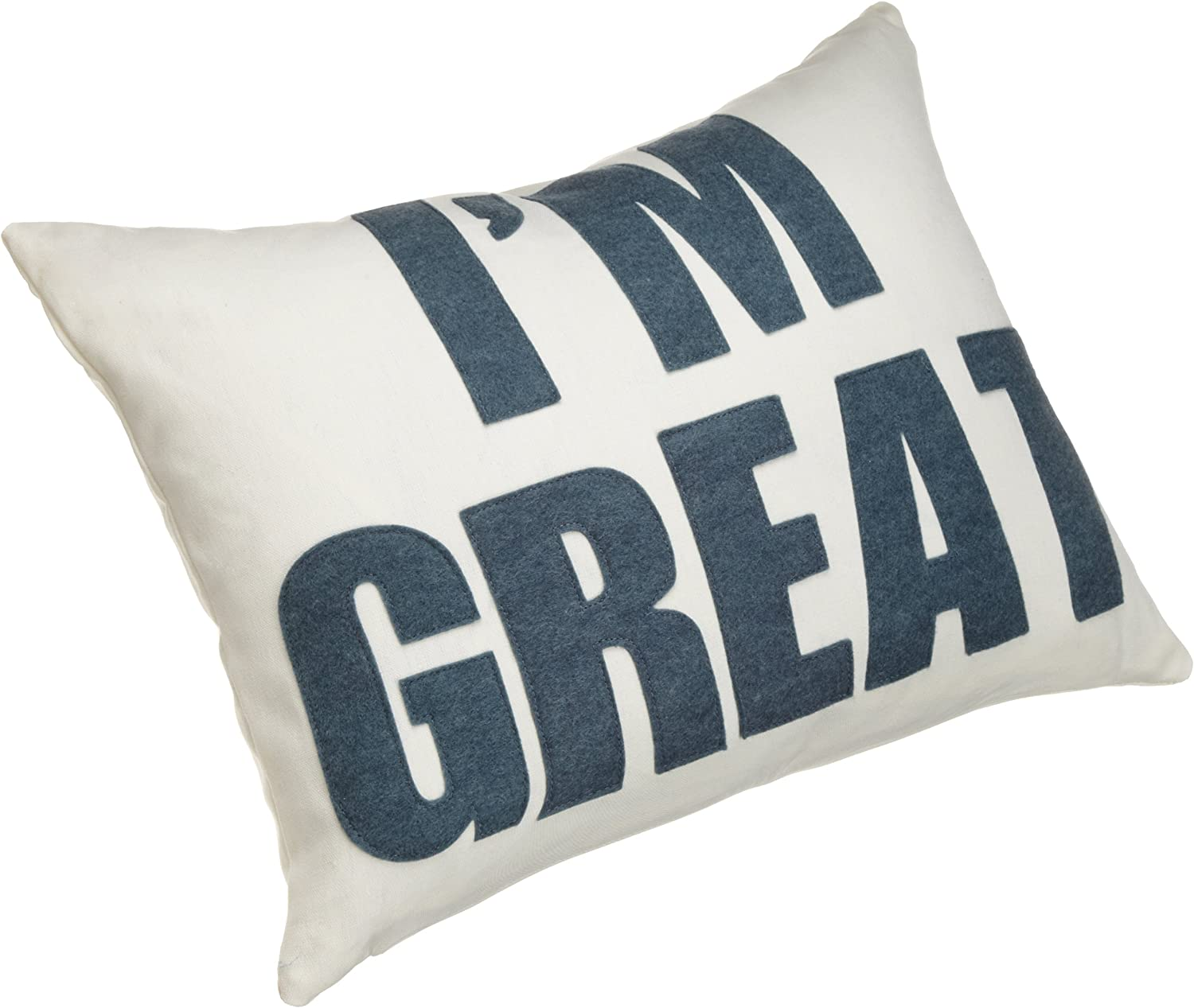 Amazon Com Alexandra Ferguson I M Great 14 By 18 Inch Decorative Pillow Cream Hemp Canvas Denim Blue Felt Home Kitchen