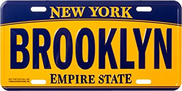 Artisan Owl Bronx New York Empire State Blue and Gold Souvenir License Plate