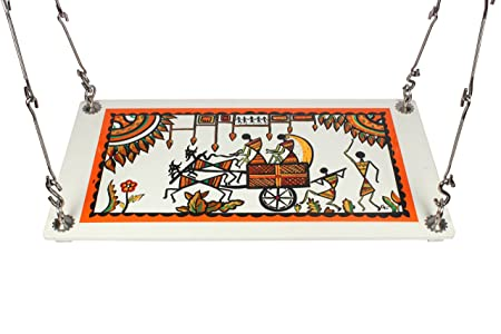 Riyo Moda Outdoor Plywood Hanging (from Ceiling) Swing Set/Jhula with Hand Painted Warli Art for Home and Garden (Upto 200kgs of Human Weight)