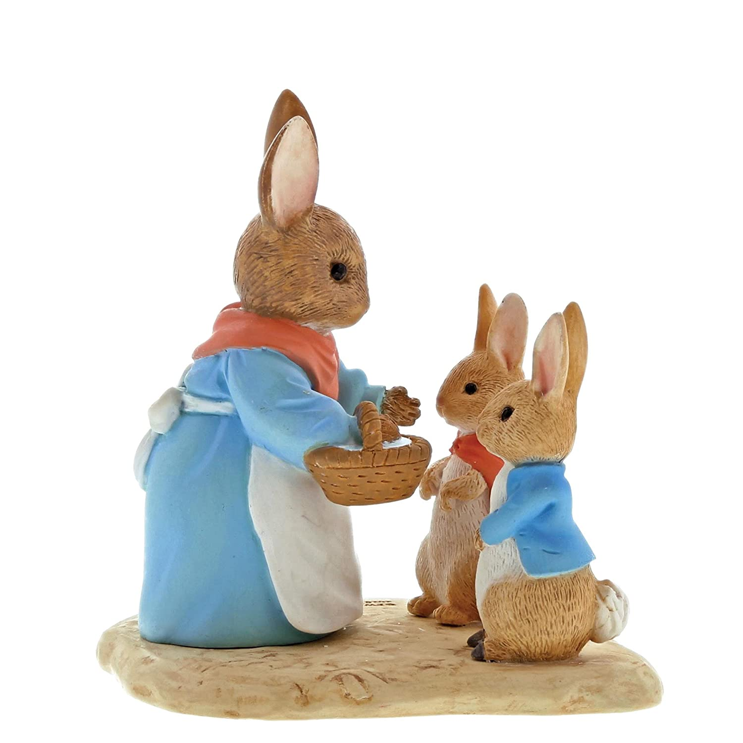 Beatrix Potter A29193 Mrs Rabbit, Flopsy and Peter Figurine, Resin, Colourful, 4 x 7 x 7 cm Enesco