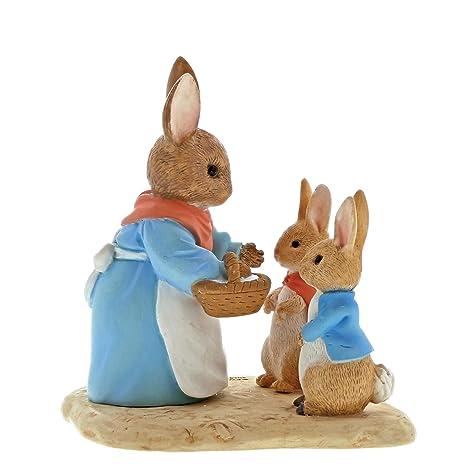 Beatrix Potter Enesco Figura Decorativa de Conejo, Flopsy y Peter, Resina, 40 x 70 x 70 cm