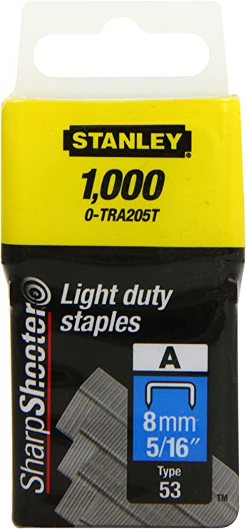 Stanley TRA205T 1,000 Units 5//16-Inch Light Duty Staples 6 pack