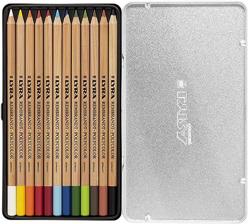 Ecriture Bo/îte m/étal 12 crayons Rembrandt Polycolor