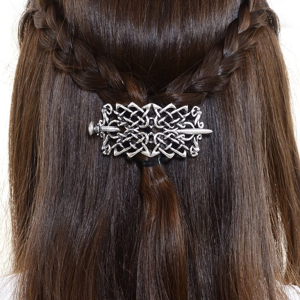 Wide Hair Slide and Pin with Norse Engraving