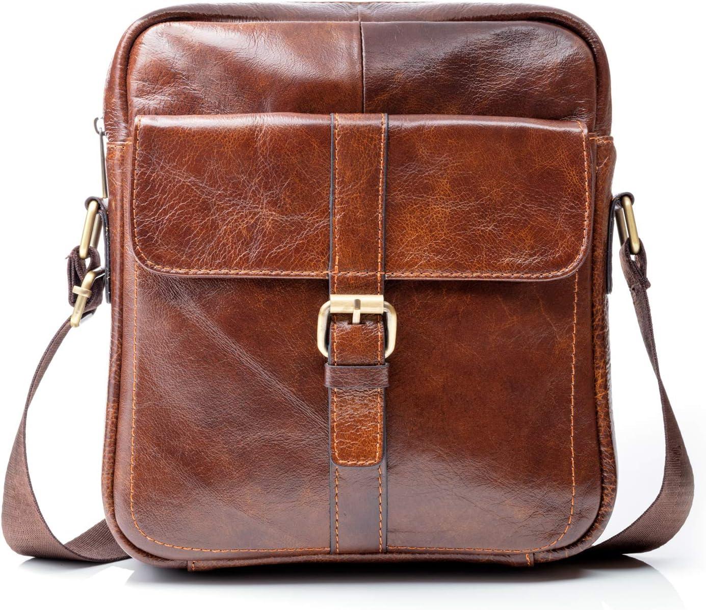 Genuine Leather Crossbody Man Bag Color Dark Brown