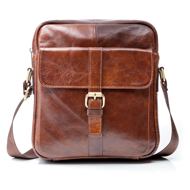 Premium Leather Crossbody Bags for Men - 9.7'' iPad Pocket, Heavy-Duty Travel Shoulder Bag - Mens Cross Body Messenger Satchel Boasts Brass Hardware, Superior Small Stitching, Better Than YKK Zippers