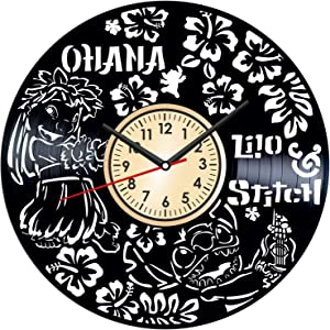 LILO and Stitch Vintage Vinyl Wall Clock - Great Home Decor for Bedroom Kitchen Living Room Idea Birthday Christmas Anniversary for Him Her - Unique Wall Art - Size 12 Inches
