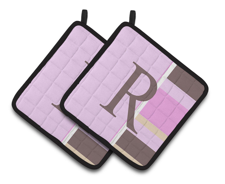 7.5HX7.5W Pink Stripes Pair of Pot Holders CJ1005-RPTHD Multicolor Carolines Treasures Letter R Initial Monogram