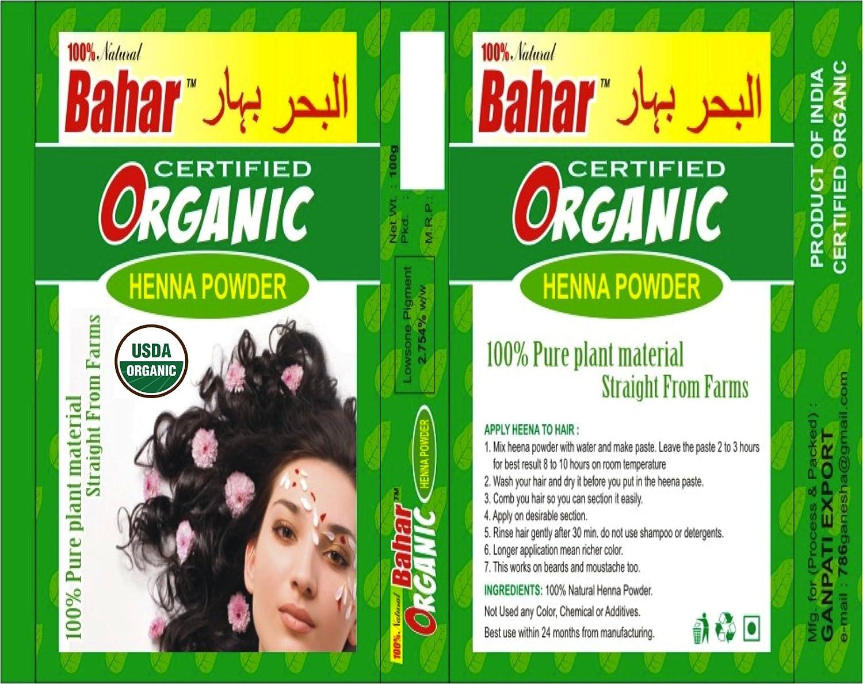 Amazon.com : ONE Box. 100g USDA Certified Organic Henna Hair Color ...