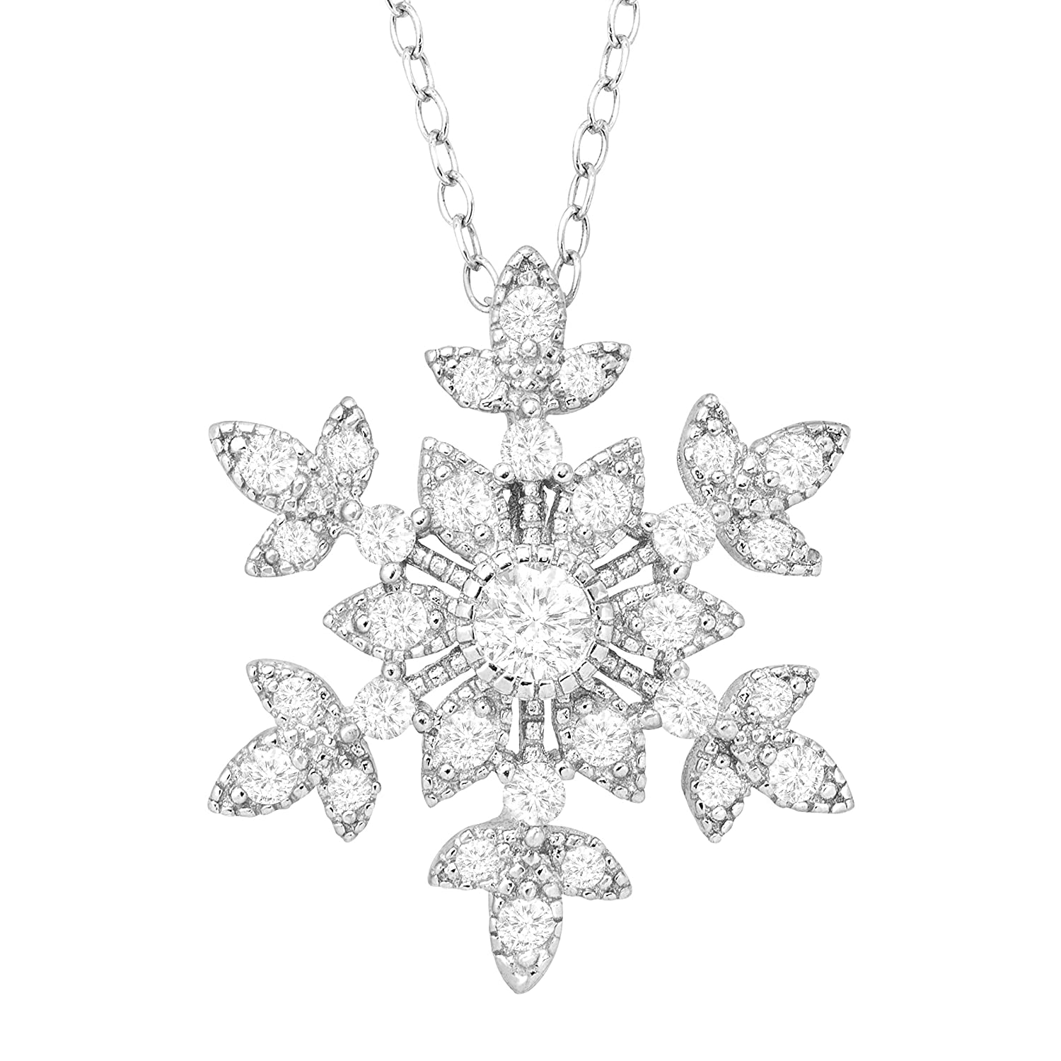 1 ct Created White Sapphire Snowflake Pendant Necklace in Sterling Silver