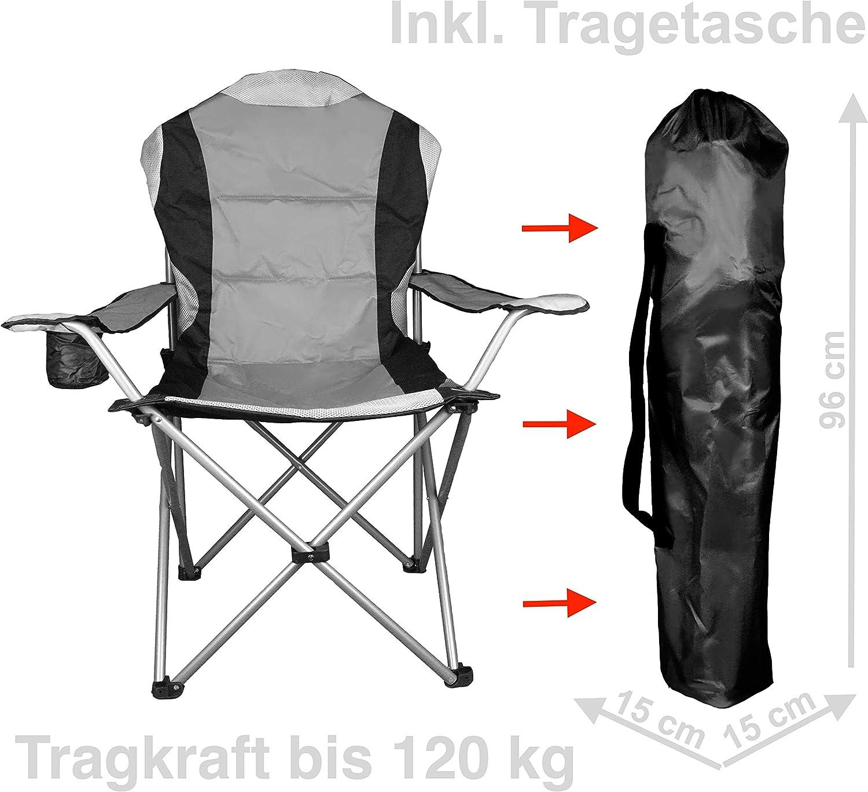 120 kg WildStage XL Chaise de camping pliante avec sac de transport et sac de toilette pliable avec porte-gobelet Charge max