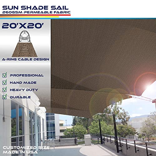 Windscreen4less A-Ring Reinforcement Large Sun Shade Sail 20 x 20 Rectangle Super Heavy Duty Strengthen Durable 260GSM -Galvanized Cable Enhanced – Brown 7 Year Warranty