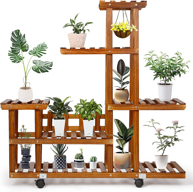 Pine Wood Plant Stand for Indoor Outdoor Plants,Viewee 4-Tier Plant Shelf,Multiple Flower Pot Holder Shelf,Garden Plant Shelf Display Organizer in Bedroom Living Room Corner Balcony Yard