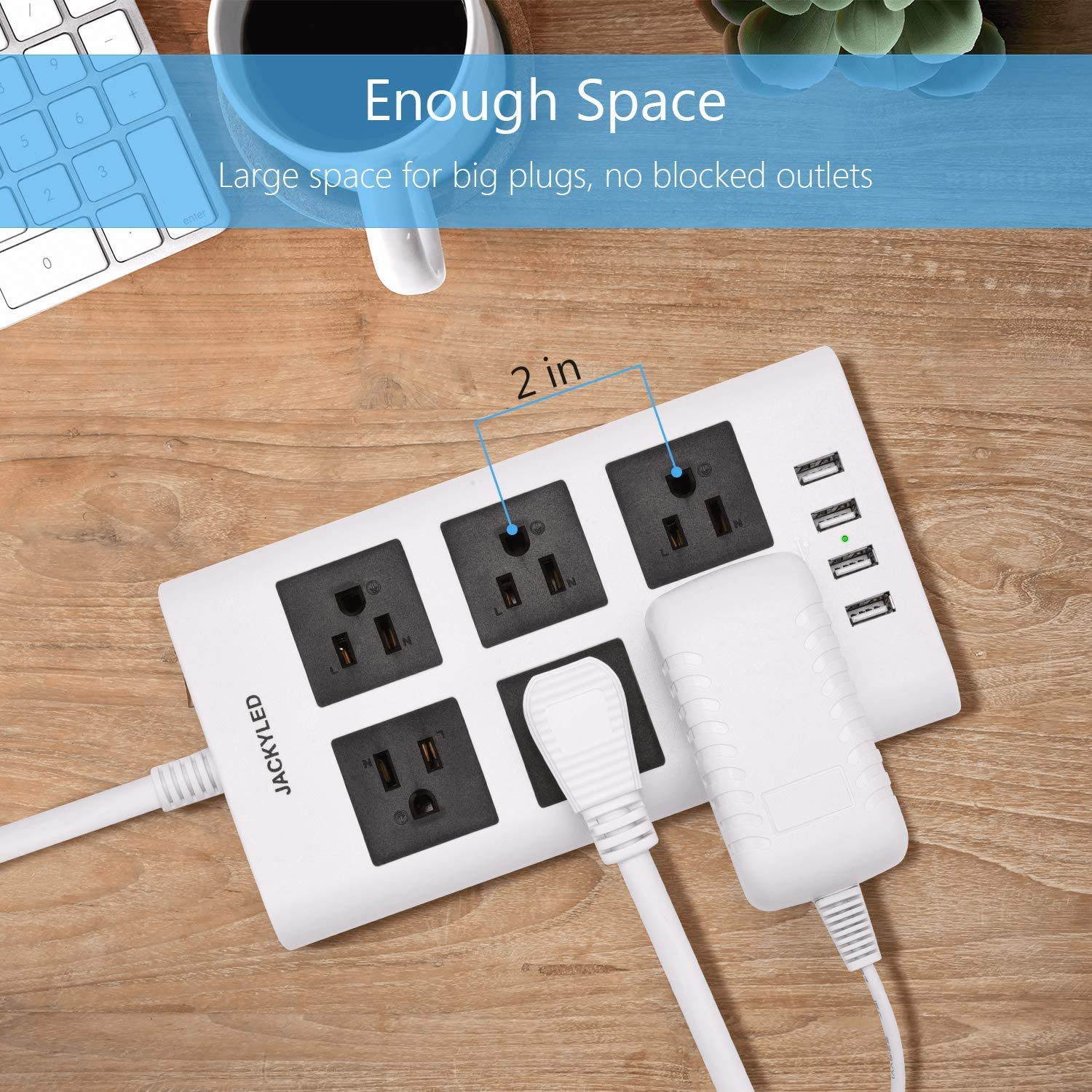 Dorm Hotel 9.8ft Surge Protector Power Strip with USB JACKYLED 1875W//15A 6 AC Wide Spaced Outlets 2.4A 4 USB Fast Charing Ports Flat Plug 14AWG Heavy Duty Extension Cord for Home Blue Black Office