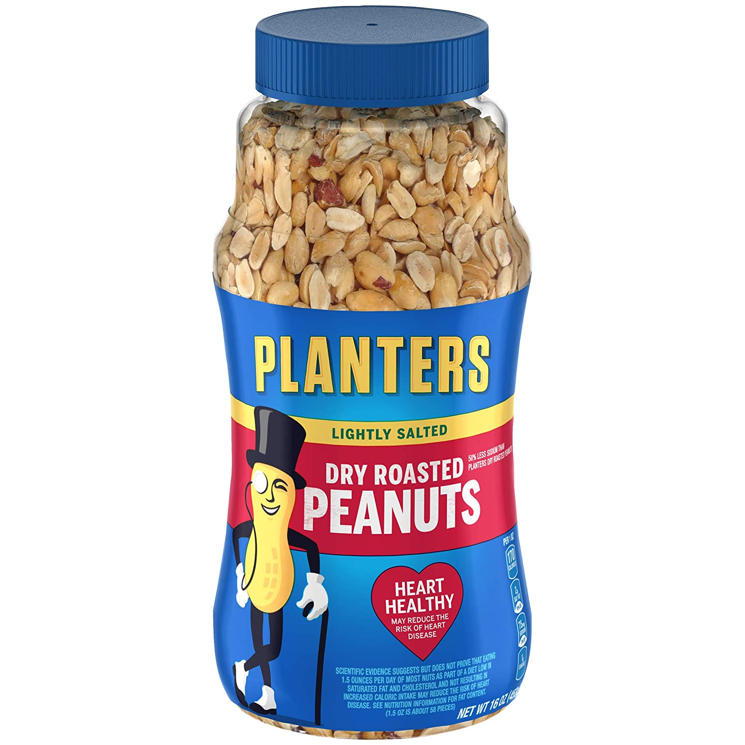 PLANTERS Lightly Salted Dry Roasted Peanuts, 16 oz. Resealable Jar | Peanut Snack | Great Movie Snack, Active Lifestyle Snack and Party Size Snack | Kosher Peanuts