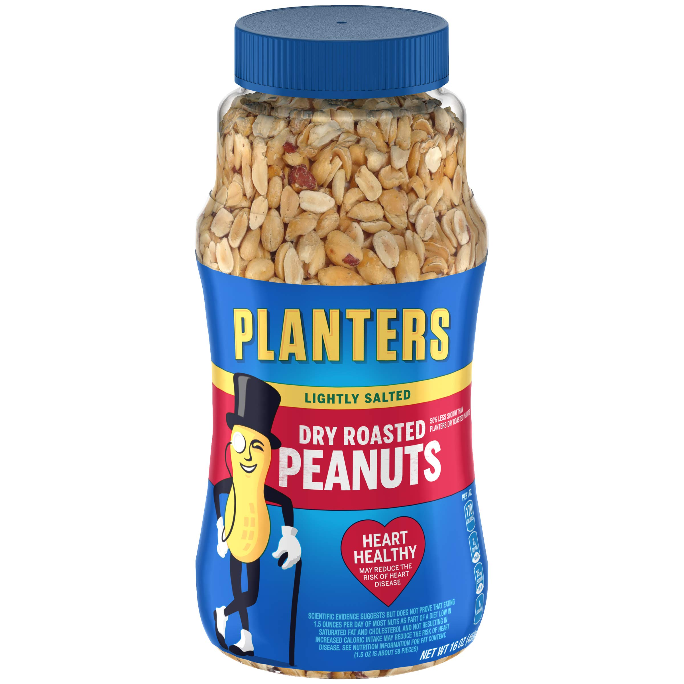 PLANTERS Lightly Salted Dry Roasted Peanuts, 16 oz. Resealable Jars (Pack of 6) - Peanut Snack - Great Movie Snack, Active Lifestyle Snack and Party Size Snack - Protein Snack - Kosher Peanuts