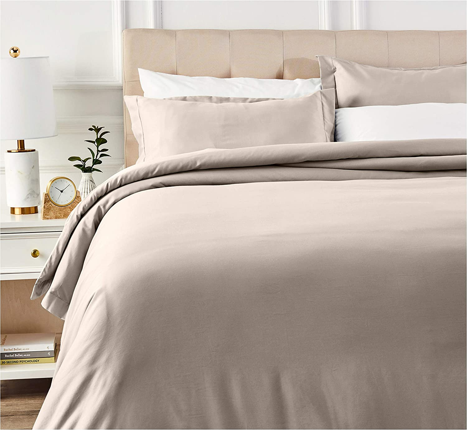 AmazonBasics 400 Thread Count Cotton Duvet Cover Set with Sateen Finish - Full/Queen, Stone Grey