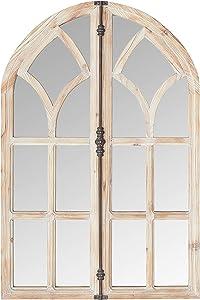 Amazon Brand – Stone & Beam Vintage Farmhouse Wooden Arched Multipanel Mantel Mirror, 36