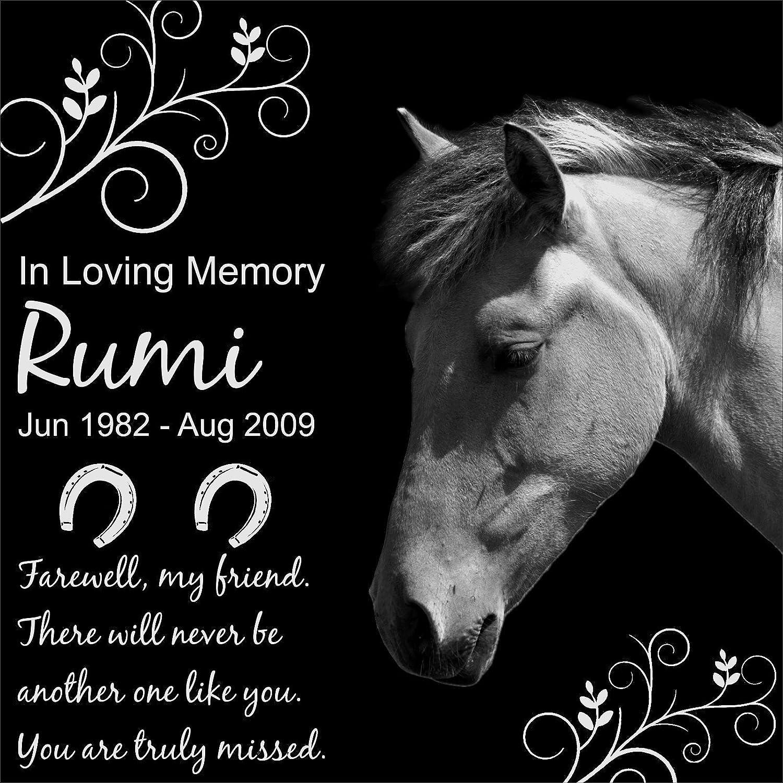 Lazzari Collections Personalized Pet Horse Memorial 12x12 Engraved Black Granite Grave Marker Head Stone Plaque RUM1