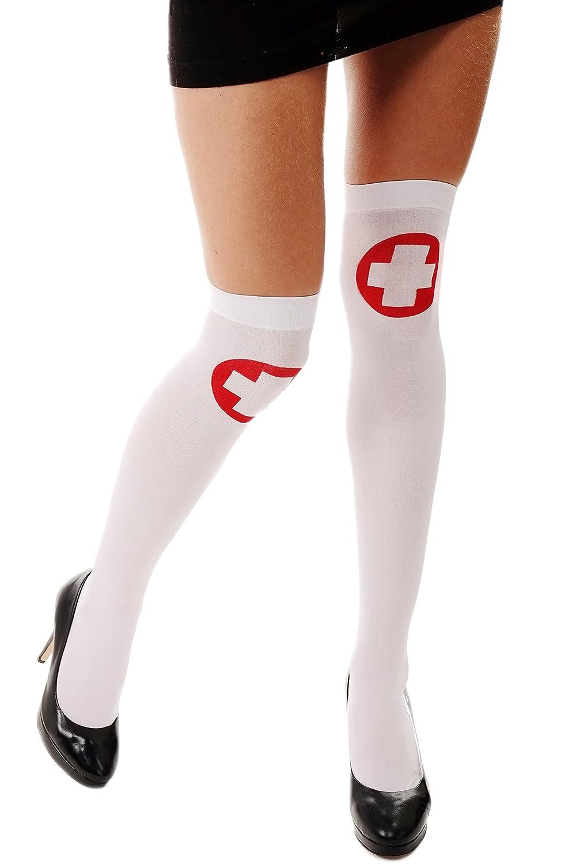 Karneval Halloween Str/ümpfe Overknees Krankenschwester rotes Kreuz Z165 DRESS ME UP