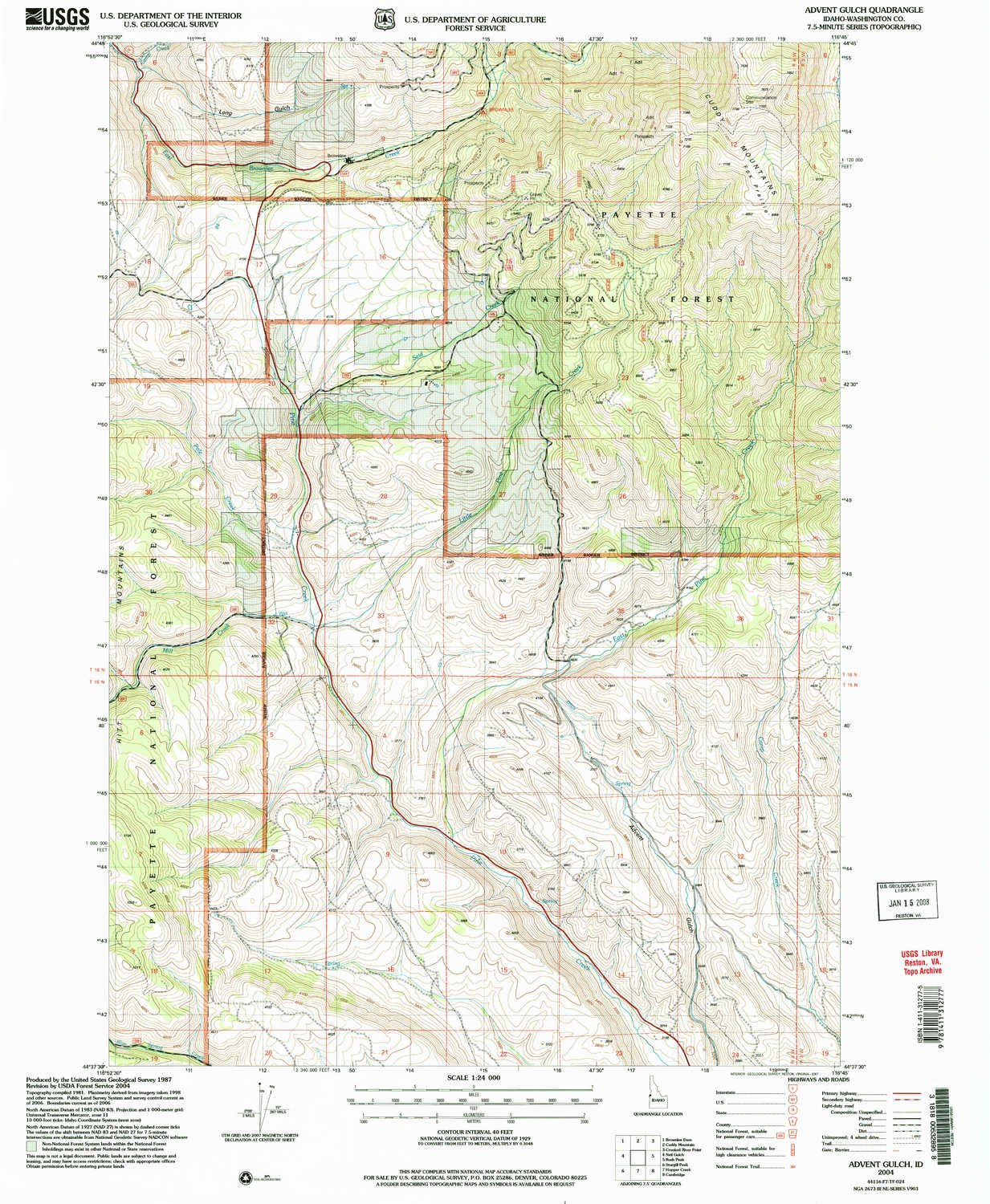 Amazon YellowMaps Advent Gulch ID topo map 1 Scale 7 5