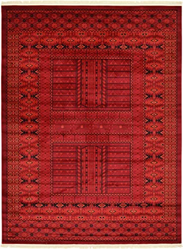 Unique Loom Tekke Collection Tribal Traditional Torkaman Red Area Rug 8 0 x 11 0