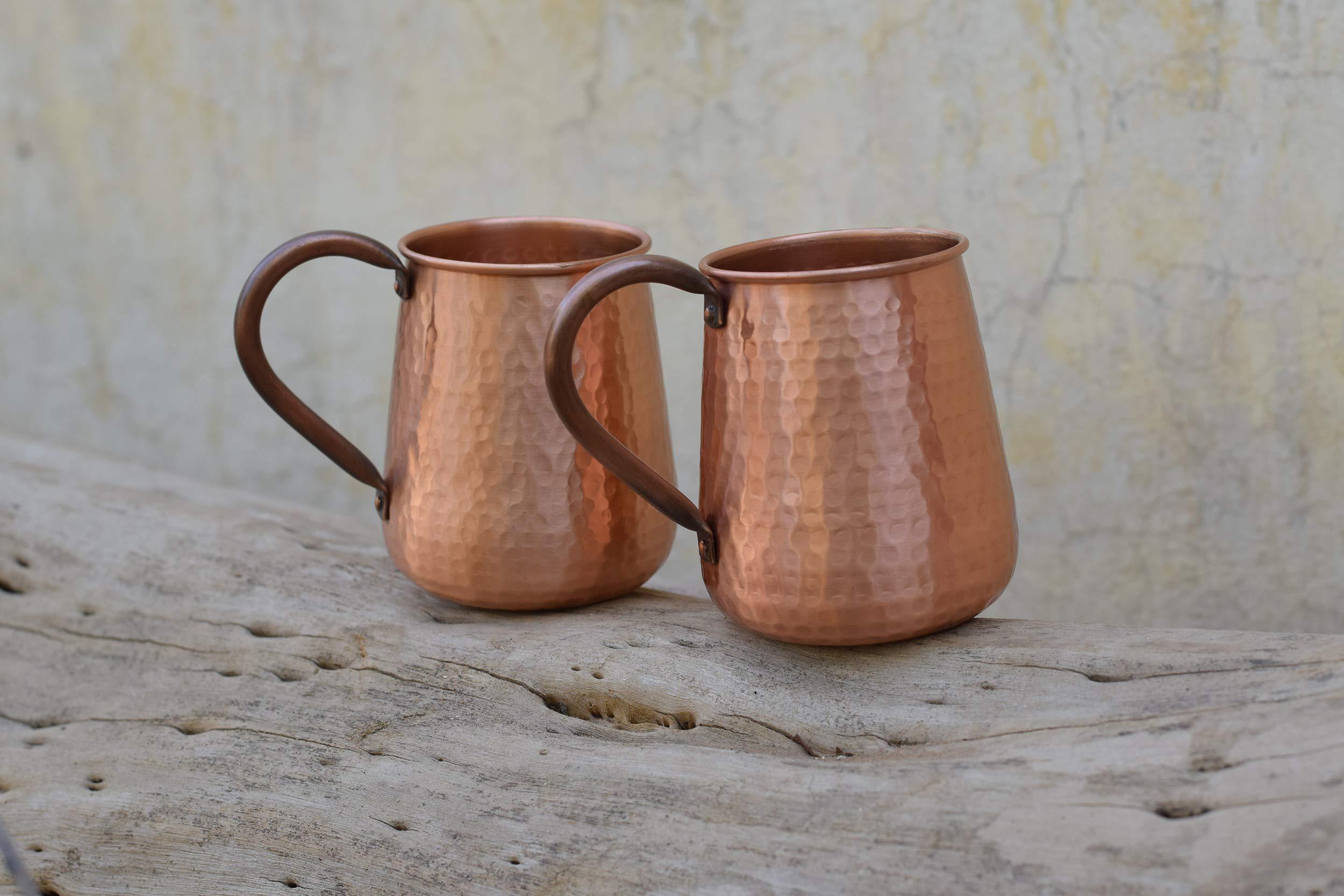 De Kulture Works Handmade Pure Copper Mug Moscow Mule Set of 2-500 ml (Brown) by De Kulture Works (Image #3)