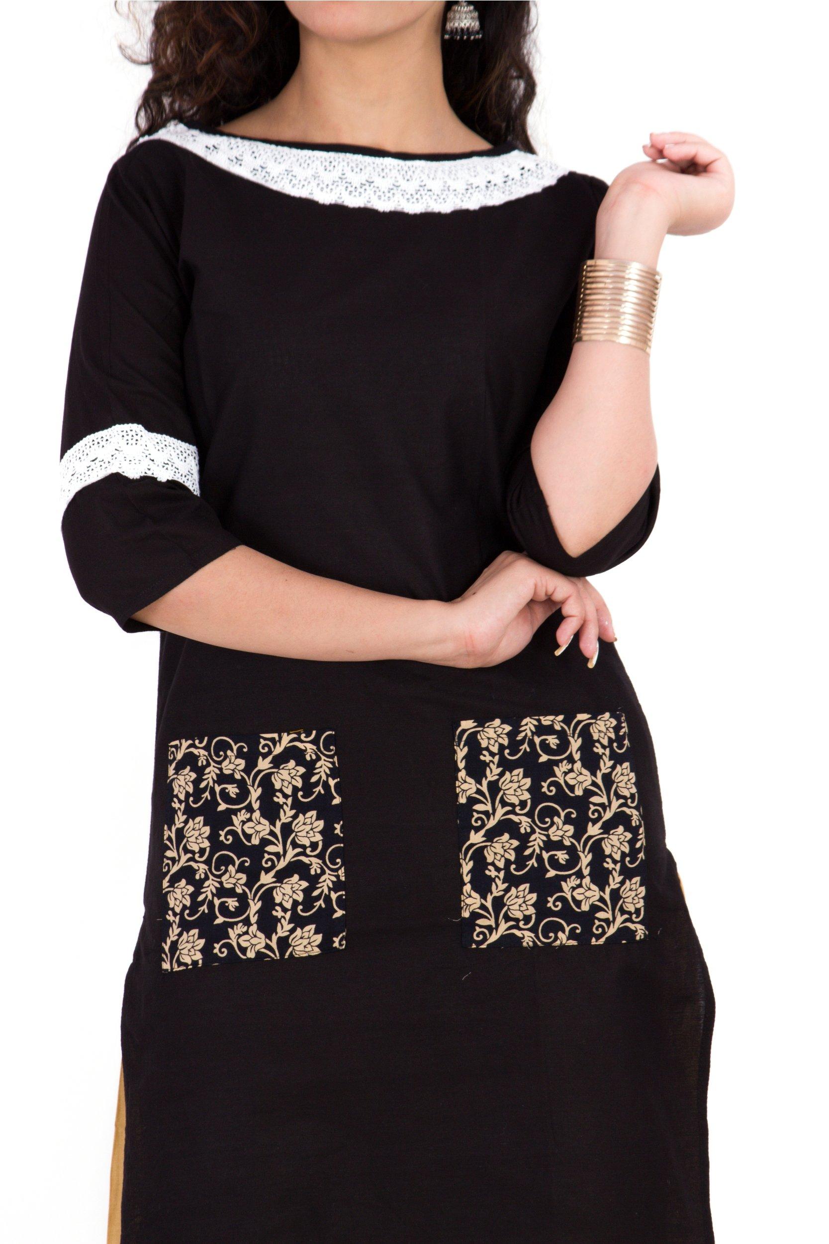 BrightJet Designer Black Cotton Lacework Women Fashion Kurti A-line Kurta Top Tunic with Rayon Solid Beige Plazzo Set Party Dress Casual (XXL) by BrightJet (Image #4)